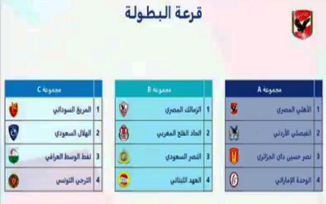 الأهلي يواجه الوحدة و حسين داي والفيصلي في البطولة العربية