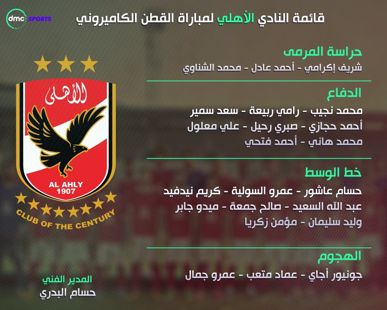 مفاجأة في تشكيل النادي الأهلي الرسمي امام القطن الكاميروني