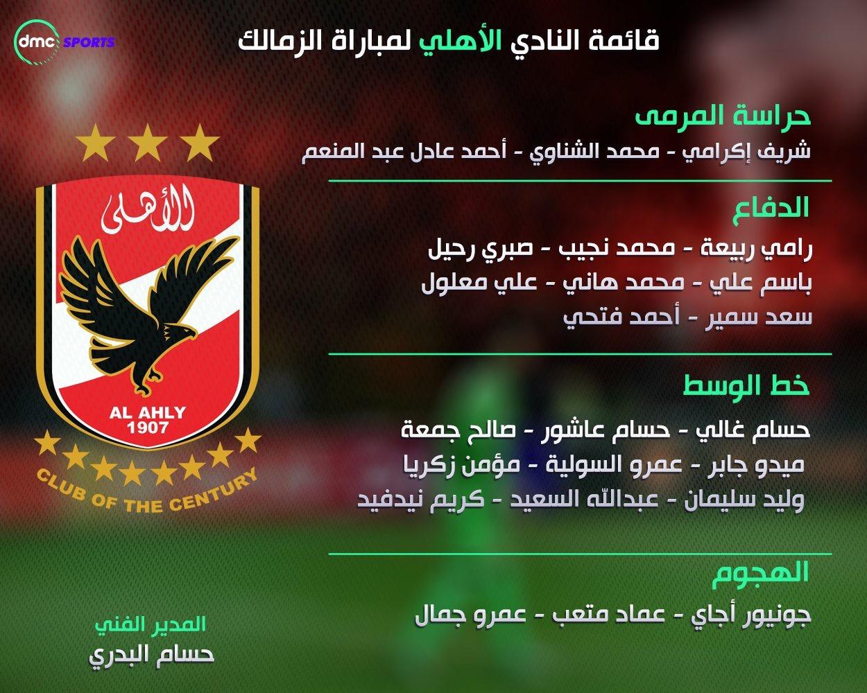 قائمة النادي الأهلي من اجل لقاء الزمالك ثالث الدوري