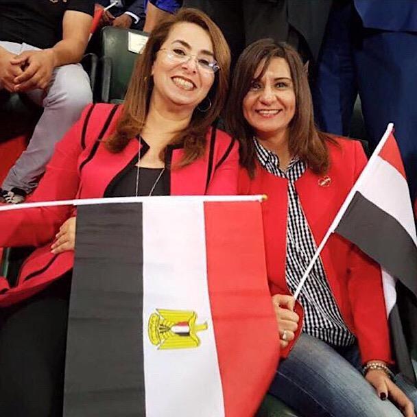 صور وزيرات مصر في استاد برج العرب لتشجيع المنتخب