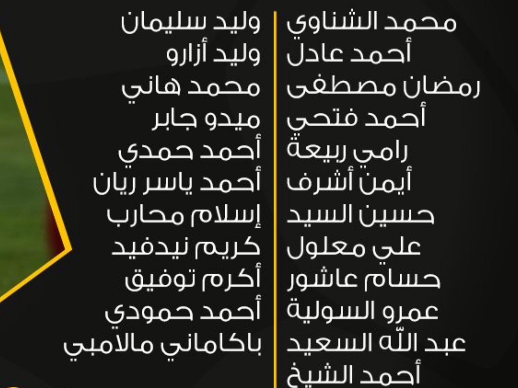قائمة النادي الأهلي من اجل لقاء بتروجيت في الدوري العام